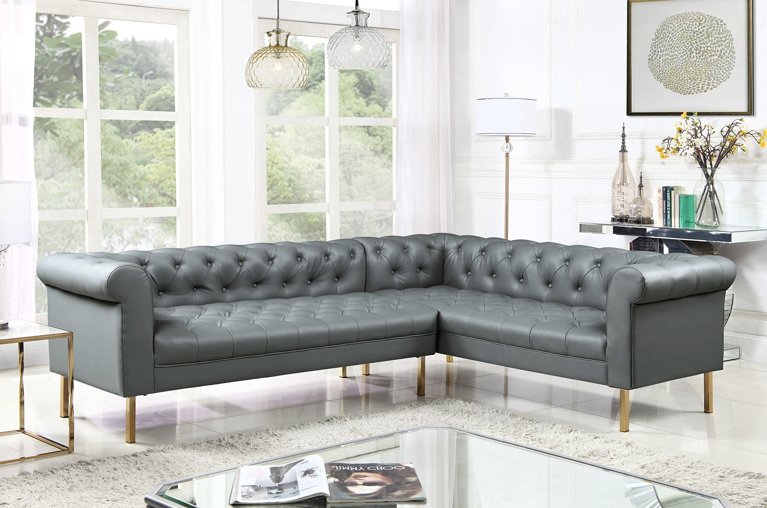Iconic Home Giovanni Right Facing Sectional Sofa L Shape PU Leather Upholstered Button Tufted Roll Arm Design Solid Gold Tone Metal Legs, Modern Transitional, Grey by Iconic Home