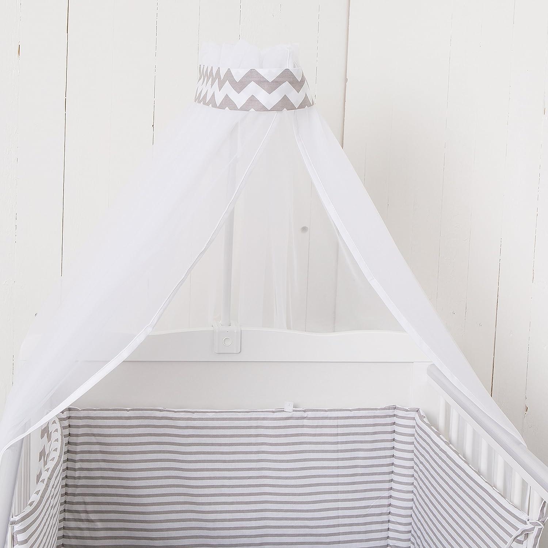 Puckdaddy Wiegenset Chevron Streifen für alle Wiegen (Nestchen, Bettwäsche, Betthimmel, Kisen, Deckchen)