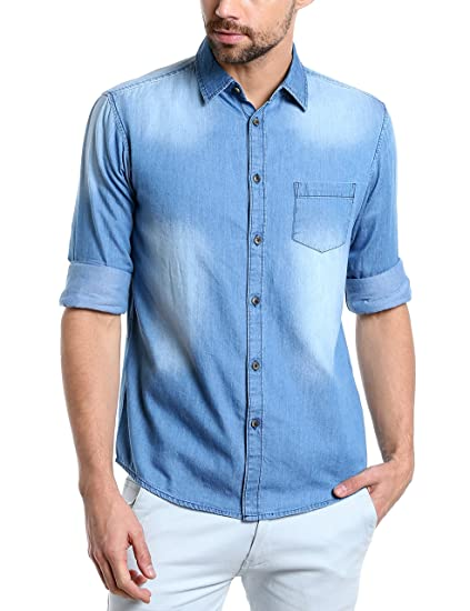 7c24667a2c Dennis Lingo Men s Denim Light Blue Solid Casual Shirt  Amazon.in  Clothing    Accessories