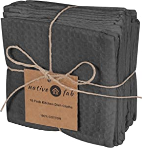 Native Fab Waffle 18 Pack Kitchen Dish Cloths Cotton 12x12 Absorbent Washable, Dish Towels, Restaurant Cleaning Towels, Bar Mops Towels, Rags for Home Kitchen Bars, Grey