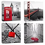 "Amazon Price History for:4Pcs 12x12 Canvas Wood Stretched Building City Golden Gate Bridge London Red Telephone Pavilion Eiffel Tower Frame Landscape Modern Art For Home Room Office Wall Print Decor 12x12"" inch (30x30cm)"
