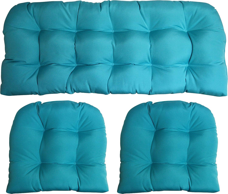 RSH DECOR Sunbrella Canvas Aruba Large 3 Piece Wicker Cushion Set - Indoor/Outdoor Wicker Loveseat Settee & 2 Matching Chair Cushions Blue/Green/Turquoise/Aqua