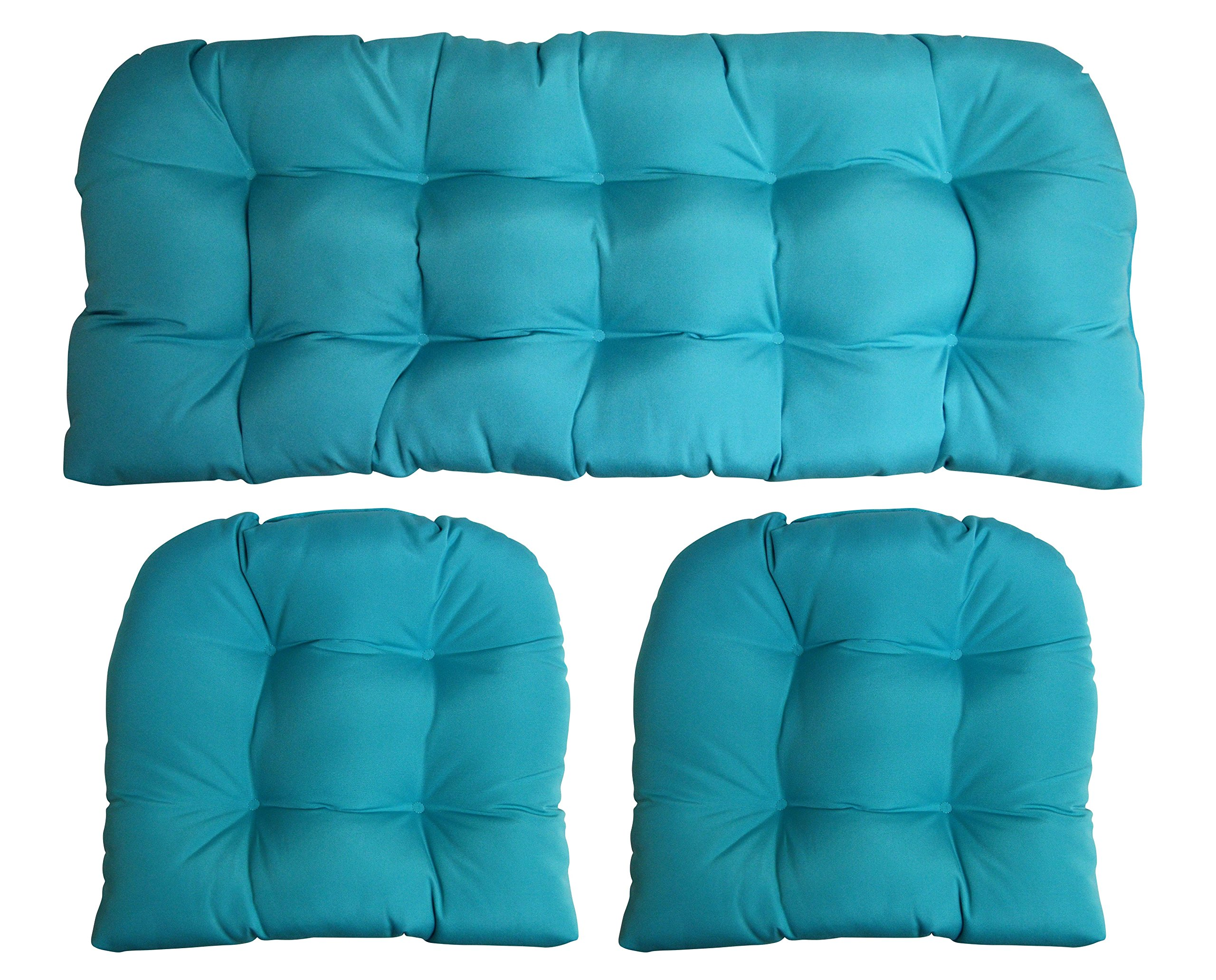 3 Piece Wicker Cushion Set - Indoor / Outdoor Wicker Loveseat Settee & 2 Matching Chair Cushions - Sunbrella Canvas Aruba Turquoise Aqua Blue (1125)