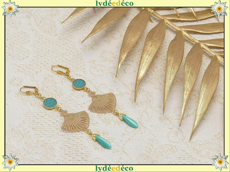 SEIGAIHA pendientes de oro Japón turquesa o coral Fan Japón regalos personalizados navidad cumpleaños joyería boda ceremonia novia dama de honor invitados día de la madre