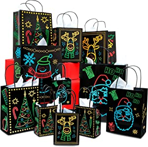 Christmas Holiday Glow-in-The-Dark Gift Bag | 22 Piece 11 Bags of 4 Different Designs, 3 Sizes Large Medium Small & 11 White Tissue Papers | Gift Set with Unique Luminous Festive Designs & Patterns