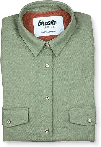 Brava Fabrics - Blusa para Mujer - Camisa Verde para Mujer - Modelo Blusa leñador Helsinki - Talla XS: Amazon.es: Ropa y accesorios