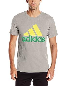 adidas Camiseta deportiva estampada para hombre - F16AXGM130, gris medio jaspeado, verde, amarillo (Medium Grey Heather/Yellow/Green): Amazon.es: Deportes y ...