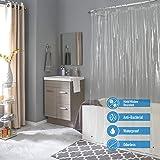 Bath Bliss Waterproof Shower Curtain Liner, 4X's Splash Guard Suction Cup Leak Protection, 12 Rust Resistant Copper Grommets,