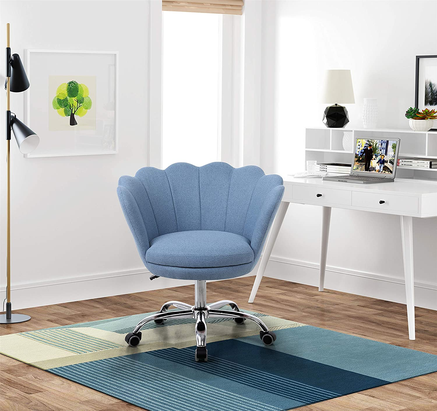 Artiron Swivel Shell Chair for Living Room Bedroom Modern Leisure Arm  Chair,Modern Fabric Vanity Chair with Wheels (Blue)