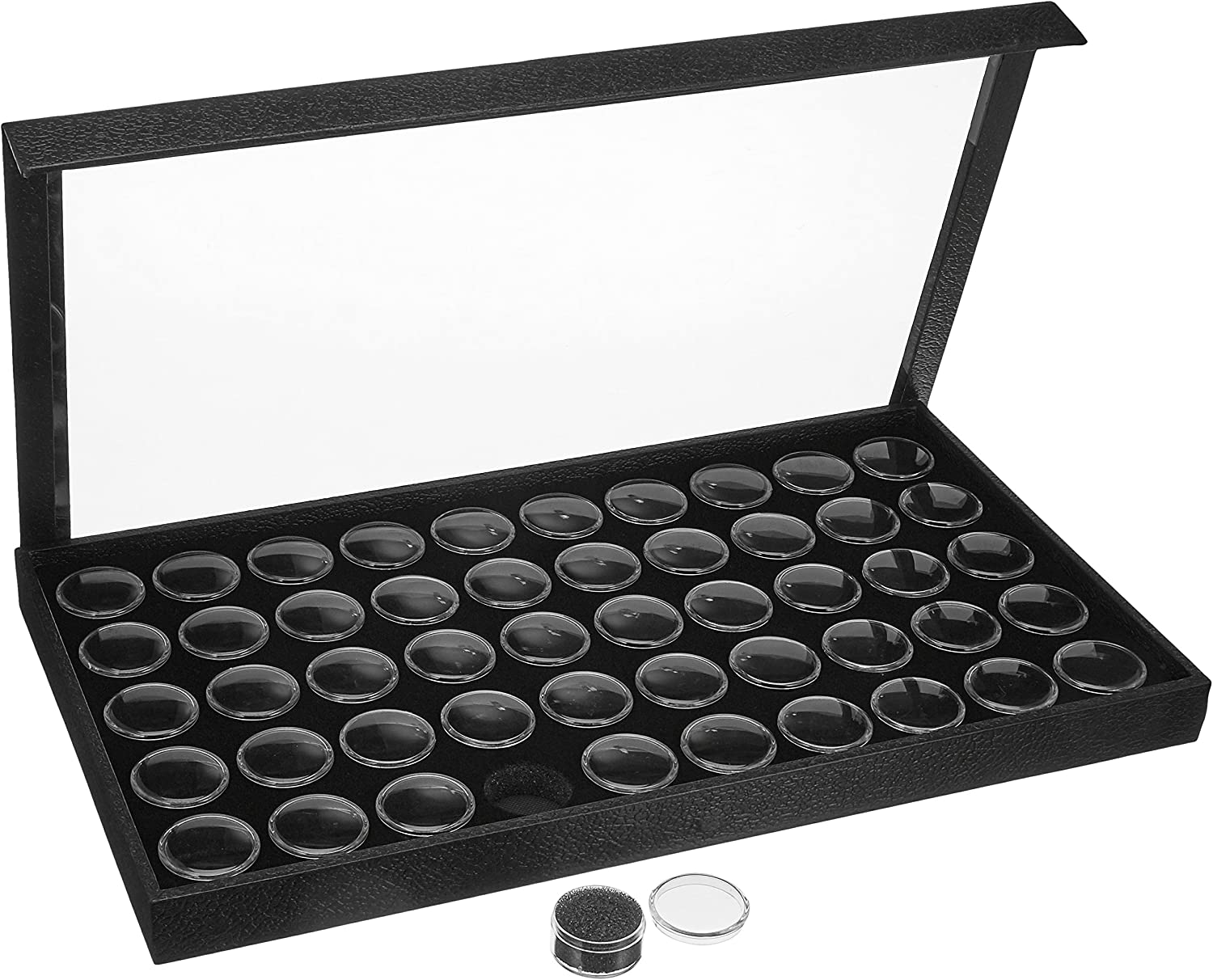 50 Black Gem /& Coin Jars Stackable Display Travel Tray by N//A