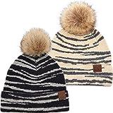 Funky Junque Womens Beanie Leopard Zebra Animal Print Warm Knit Faux Fur Pom Hat