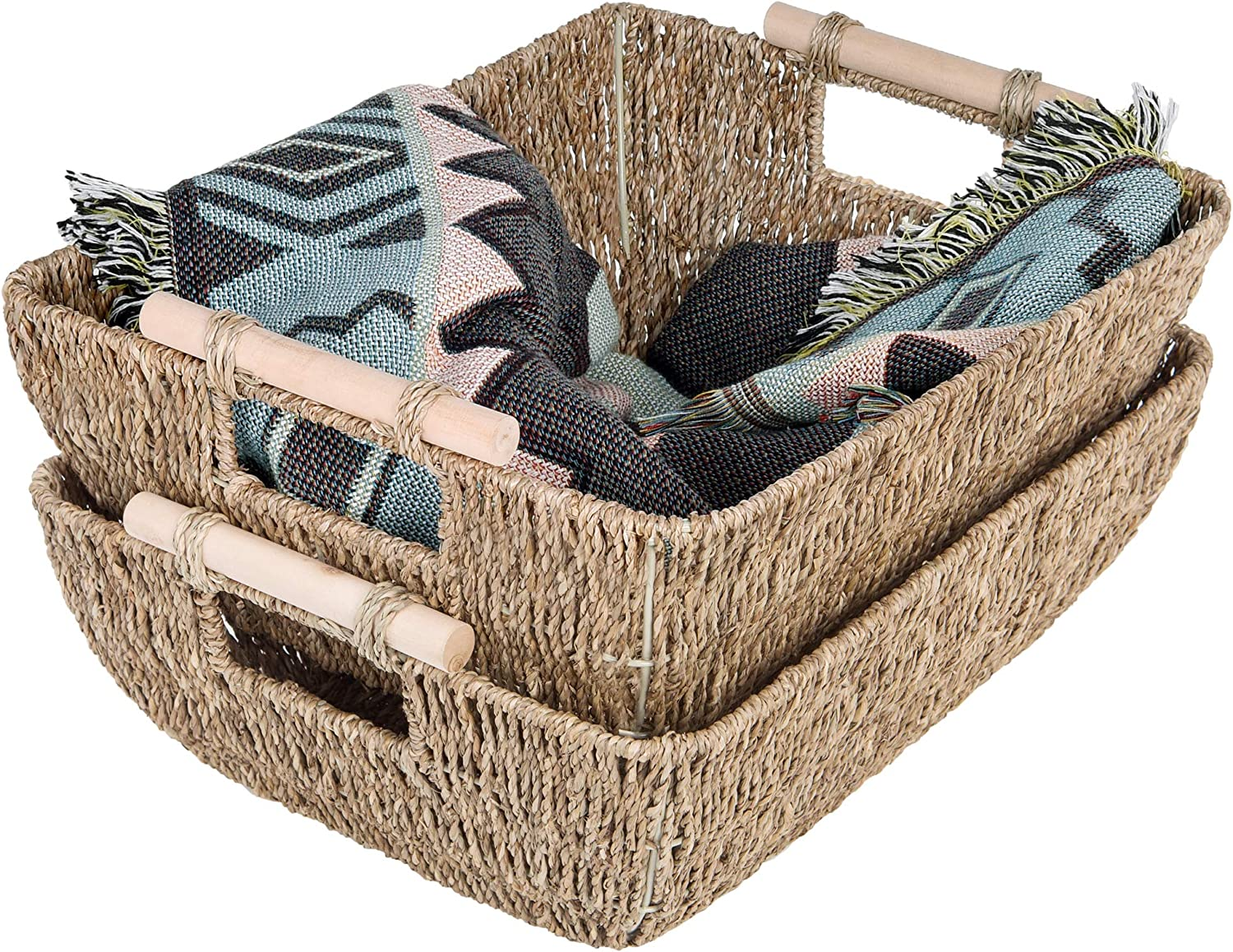 """StorageWorks Hand-Woven Jumbo Storage Baskets with Wooden Handles, Seagrass Wicker Baskets for Organizing, 16.9"""" x 13"""" x 6"""", 2-Pack"""