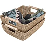 """StorageWorks Hand-Woven Jumbo Storage Baskets with Wooden Handles, Seagrass Wicker Baskets for Organizing, 16.9"""" x 13"""" x 6"""","""
