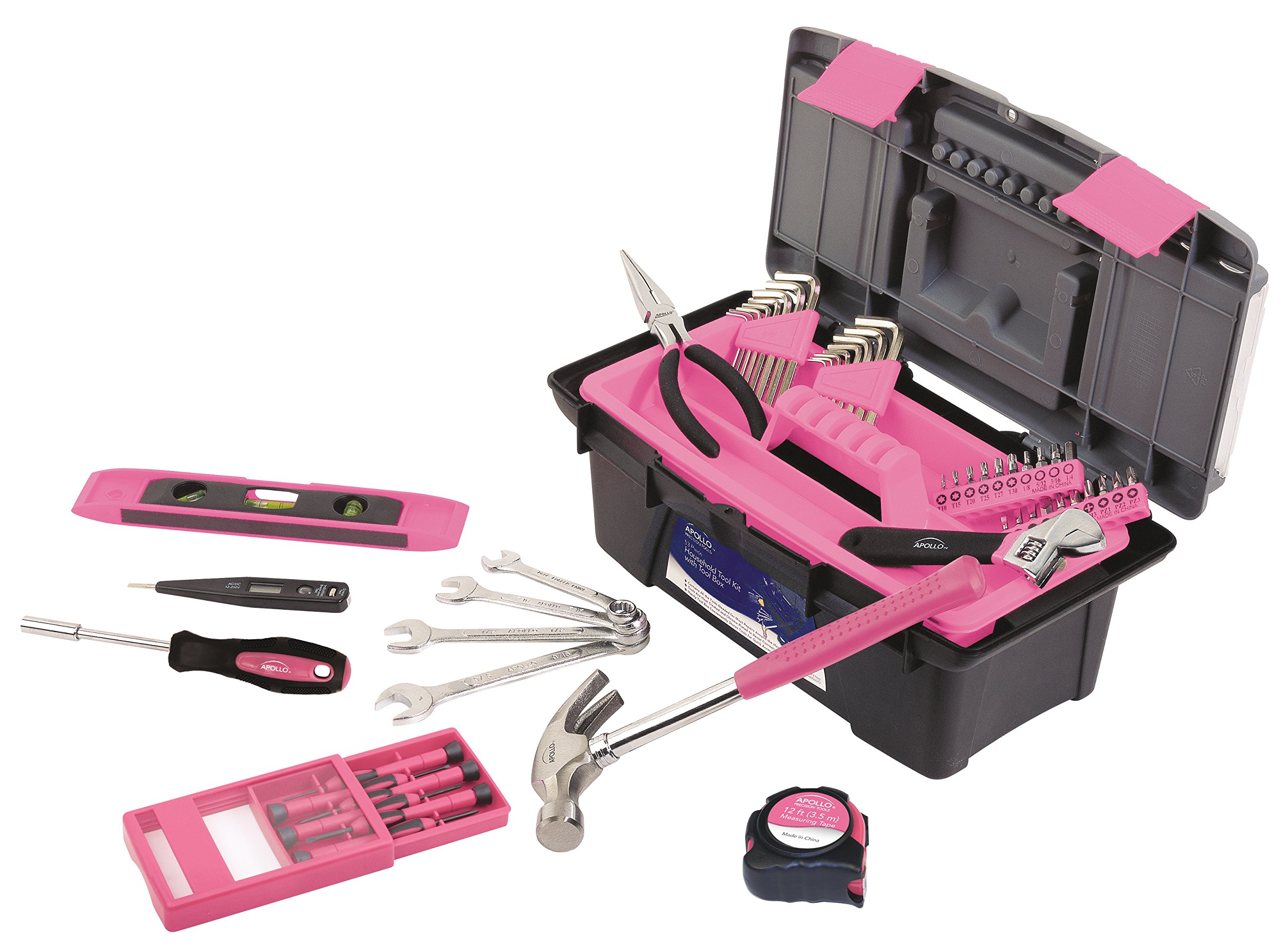 Apollo Tools DT9773P 53 Piece Household Tool Set with Wrenches, Precision Screwdriver Set and Most Reached for Hand Tools in Handy Tool Box Pink Ribbon by Apollo Tools