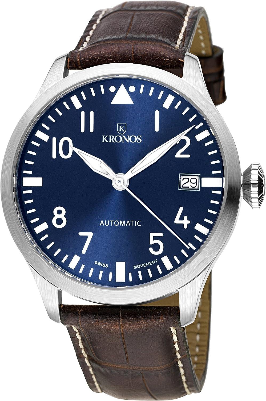 KRONOS - Pilot Automatic Blue 990.65 - Reloj de Caballero automático, Correa de Piel marrón, Color Esfera: Azul