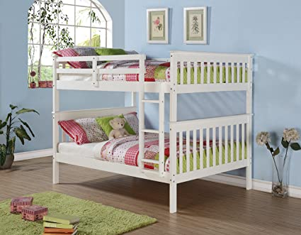 Amazon Com Donco Bunk Bed Full Over Full Mission Style In White And