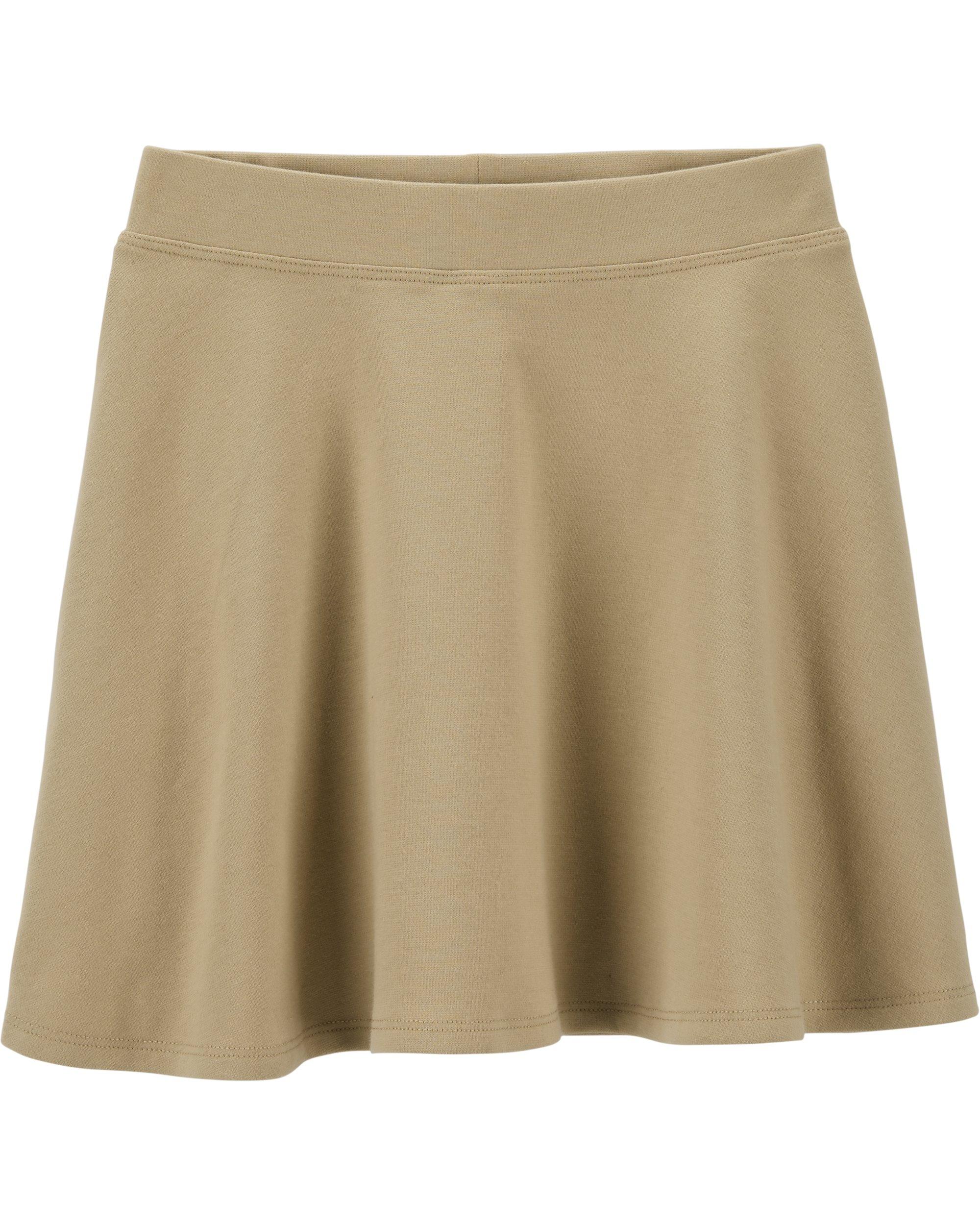 Osh Kosh Girls' Kids Uniform Ponte Skirt, Khaki, 7
