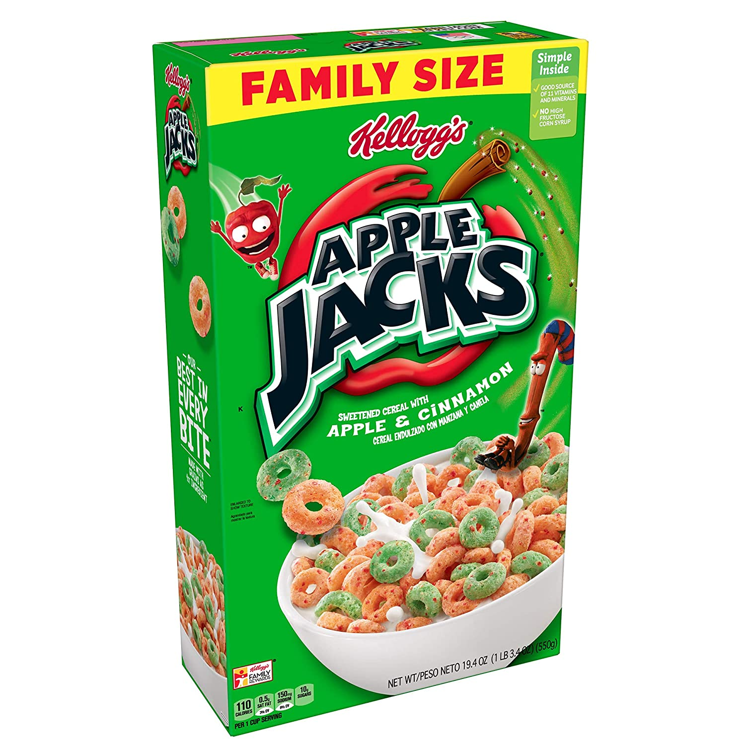 Kellogg's Apple Jacks, Breakfast Cereal, Original, Good Source of 8 Vitamins and Minerals, Family Size, 19.4oz Box