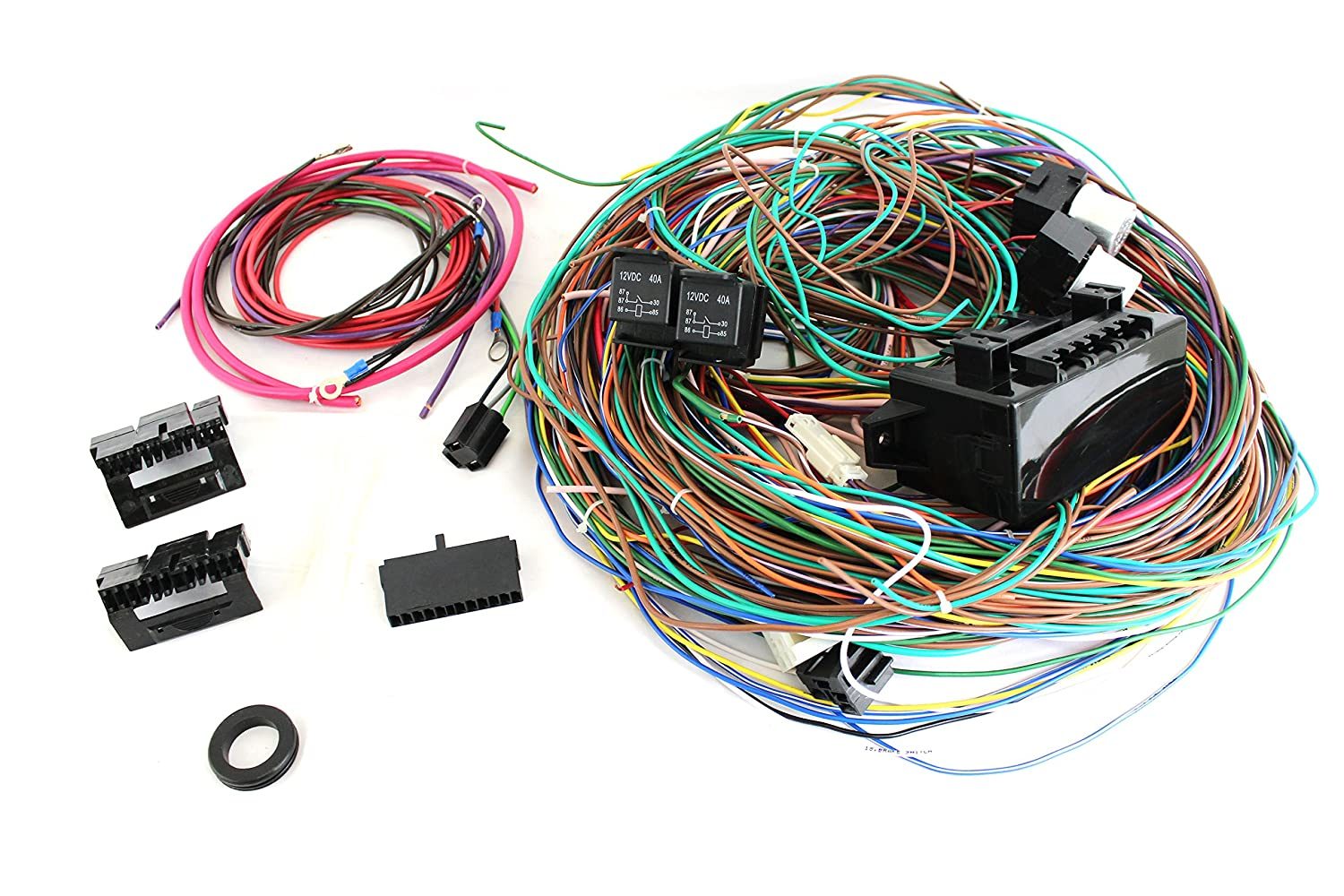 91YoamXFx2L._SL1500_ amazon com 12v 24 circuit 15 fuse street hot rat rod wiring hot rod wiring harness universal at alyssarenee.co