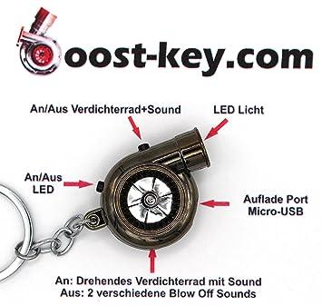 USB eléctrico (batería recargable de Turbo Black cromo llavero con sonidos + LED Electronic Boost