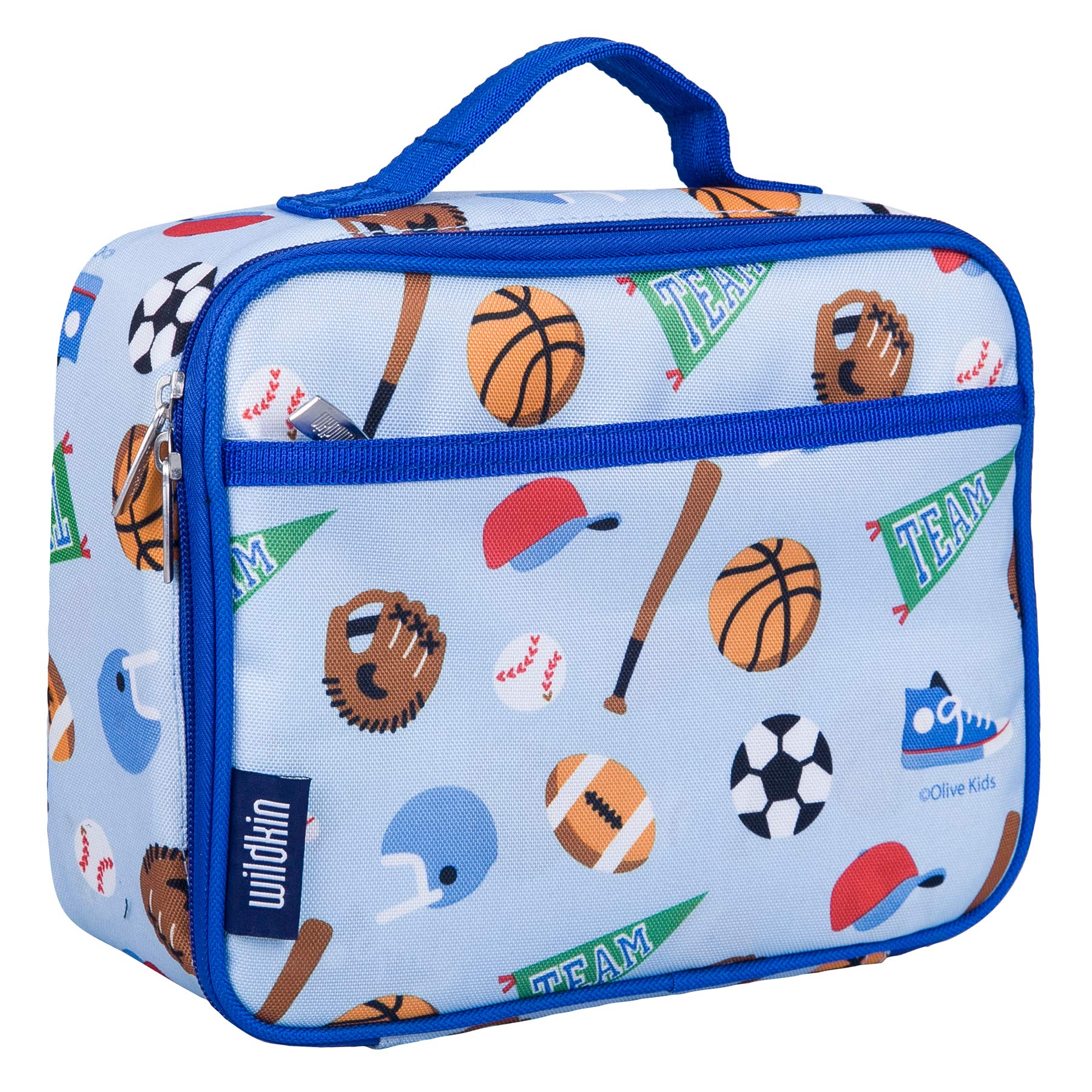 Wildkin Lunch Box, Insulated, Moisture Resistant, and Easy to Clean with Helpful Extras for Quick and Simple Organization, Ages 3+, Perfect for Kids or On-The-Go Parents, Olive Kids Design – Game On