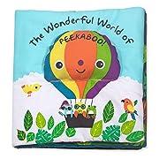 Melissa & Doug Soft Activity Book – The Wonderful World of Peekaboo (Developmental Toys, Interactive Cloth Lift-the-Flap Baby Book, 5 Animals, Machine Washable)