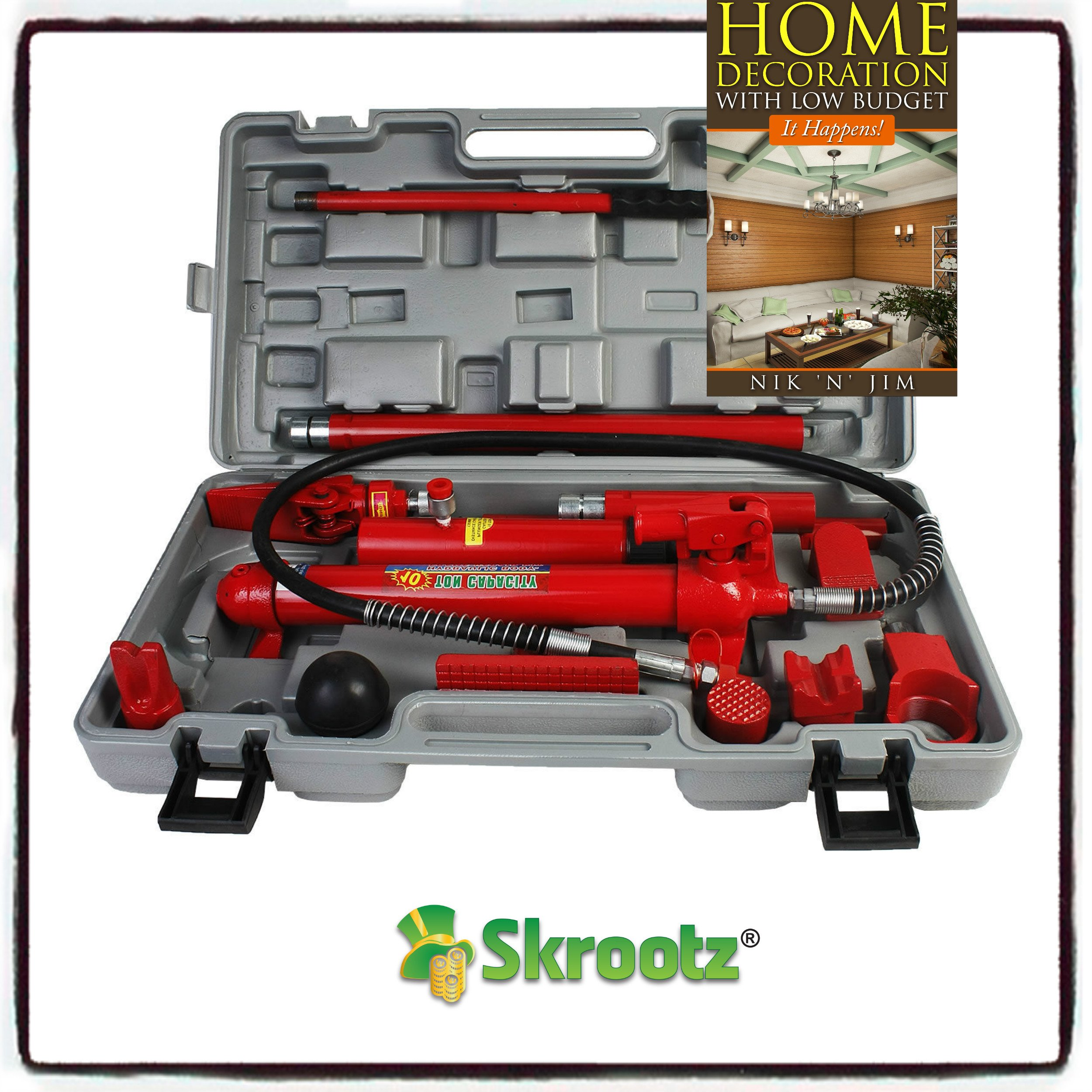 10 Ton Porta Power Hydraulic Jack Body Frame Repair Kit Auto Shop Tool Heavy Set by Skroutz