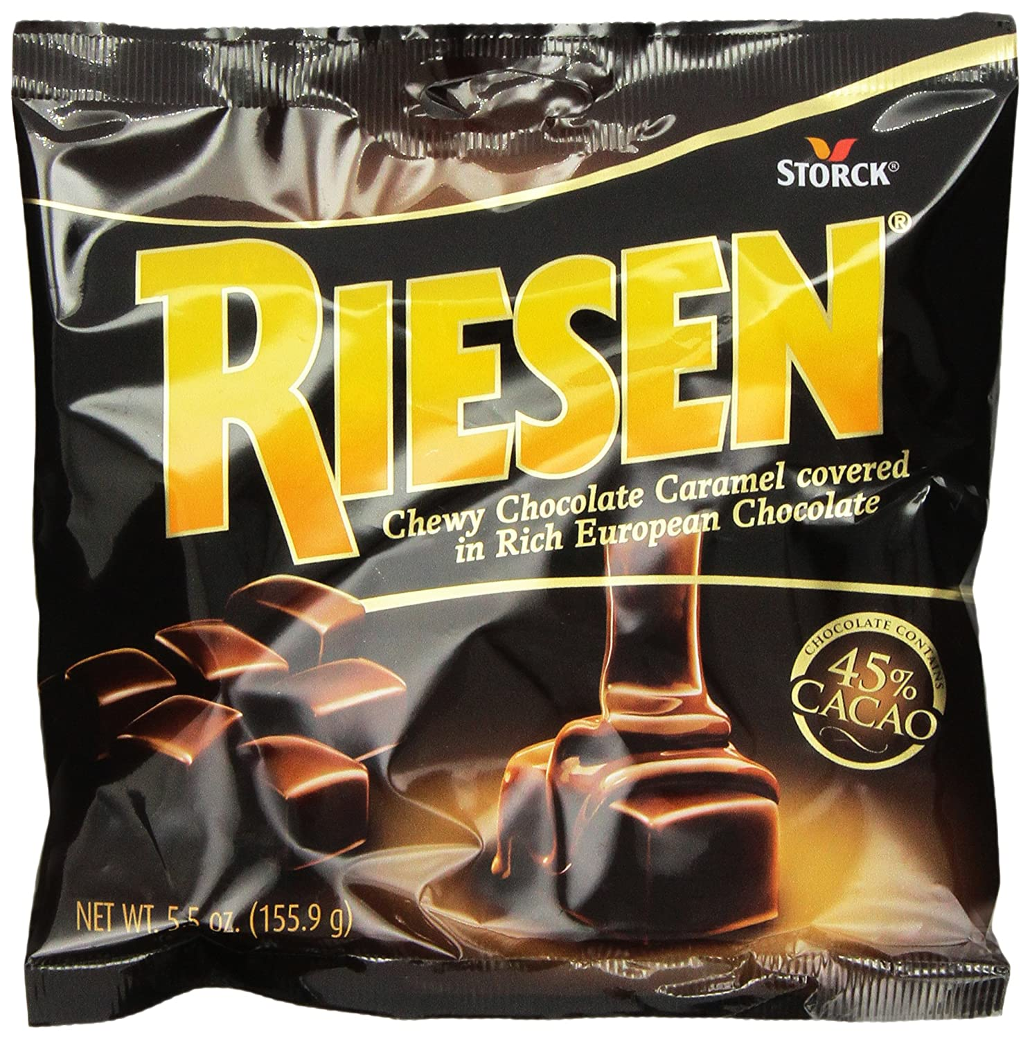 RIESEN Chewy Dark Chocolate Caramel Candy, 5.5-Ounce Bags (Pack of 12), Individually Wrapped Candy, Bulk Candy, Chocolate Candy, Bag of Candy, Sweets for Home, Road Trips or Parties, Great Gift Idea