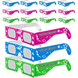 Solar Eclipse Glasses CE and ISO Certified - Safe Solar Viewing - Viewer and Filter - Made in USA - NEON (12 Pack)