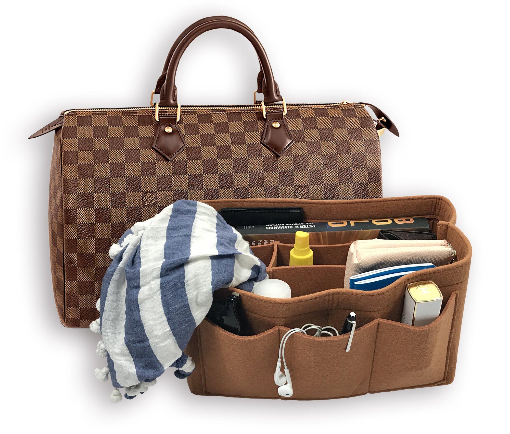Felt Purse Handbag Organizer Bag In Bag. MultiPocket Handbag Purse Organizer. Two colors black and brown.