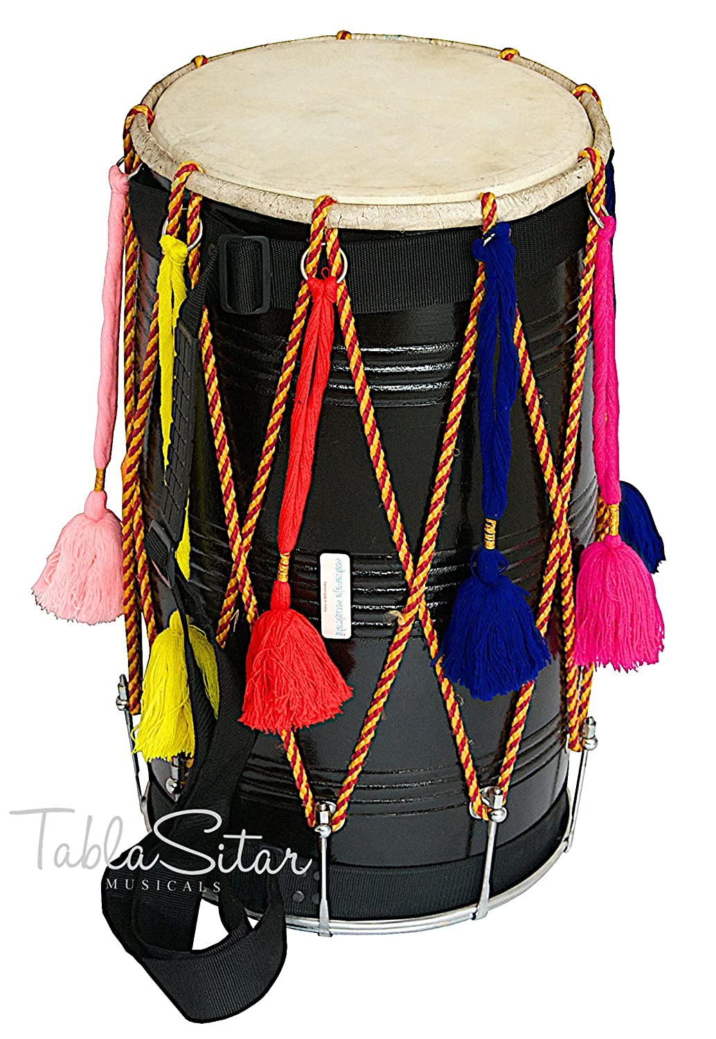 Maharaja Musicals Bhangra Dhol Drum, Mango Wood, Black, Barrel Shaped, Padded Bag, Beaters, Nylon Strap, Punjabi Dhol Drum (PDI-CE) buyRaagini.com