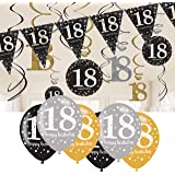 18th Birthday Decorations Black and Gold: 18th Birthday Bunting, Balloons, Hanging Decorations