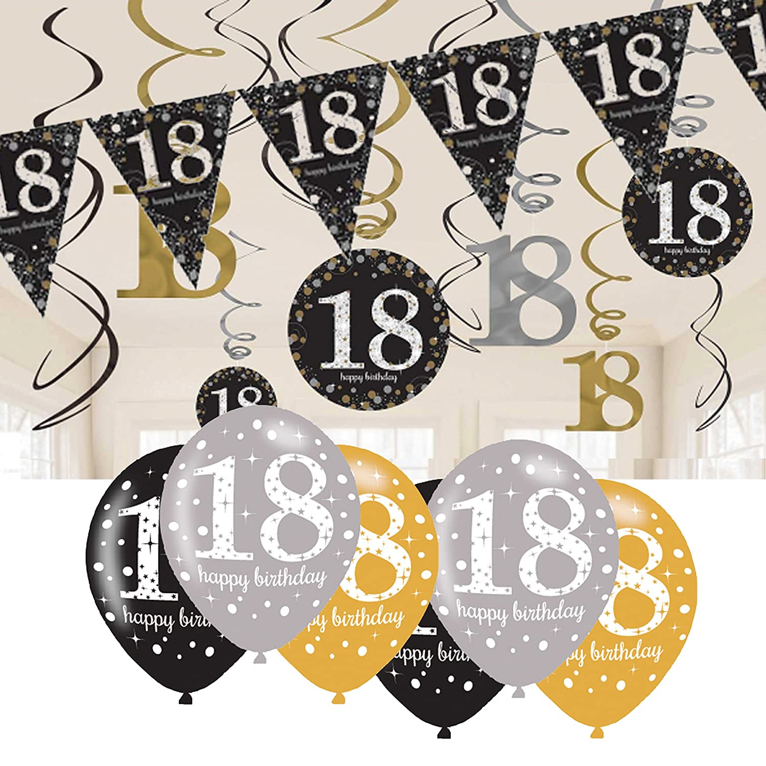 18th Birthday Decorations Black And Gold Bunting Balloons Hanging Amazoncouk Toys Games