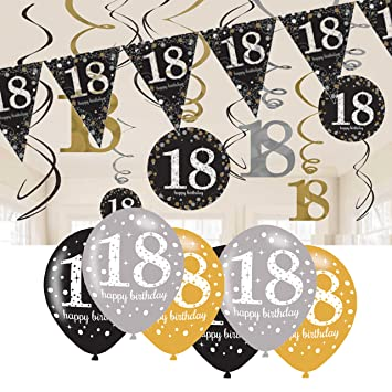 18th Birthday Decorations Black And Gold Bunting Balloons Hanging