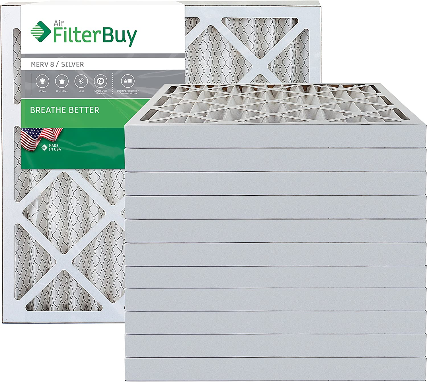 FilterBuy 20x22x2 MERV 8 Pleated AC Furnace Air Filter, (Pack of 12 Filters), 20x22x2 – Silver