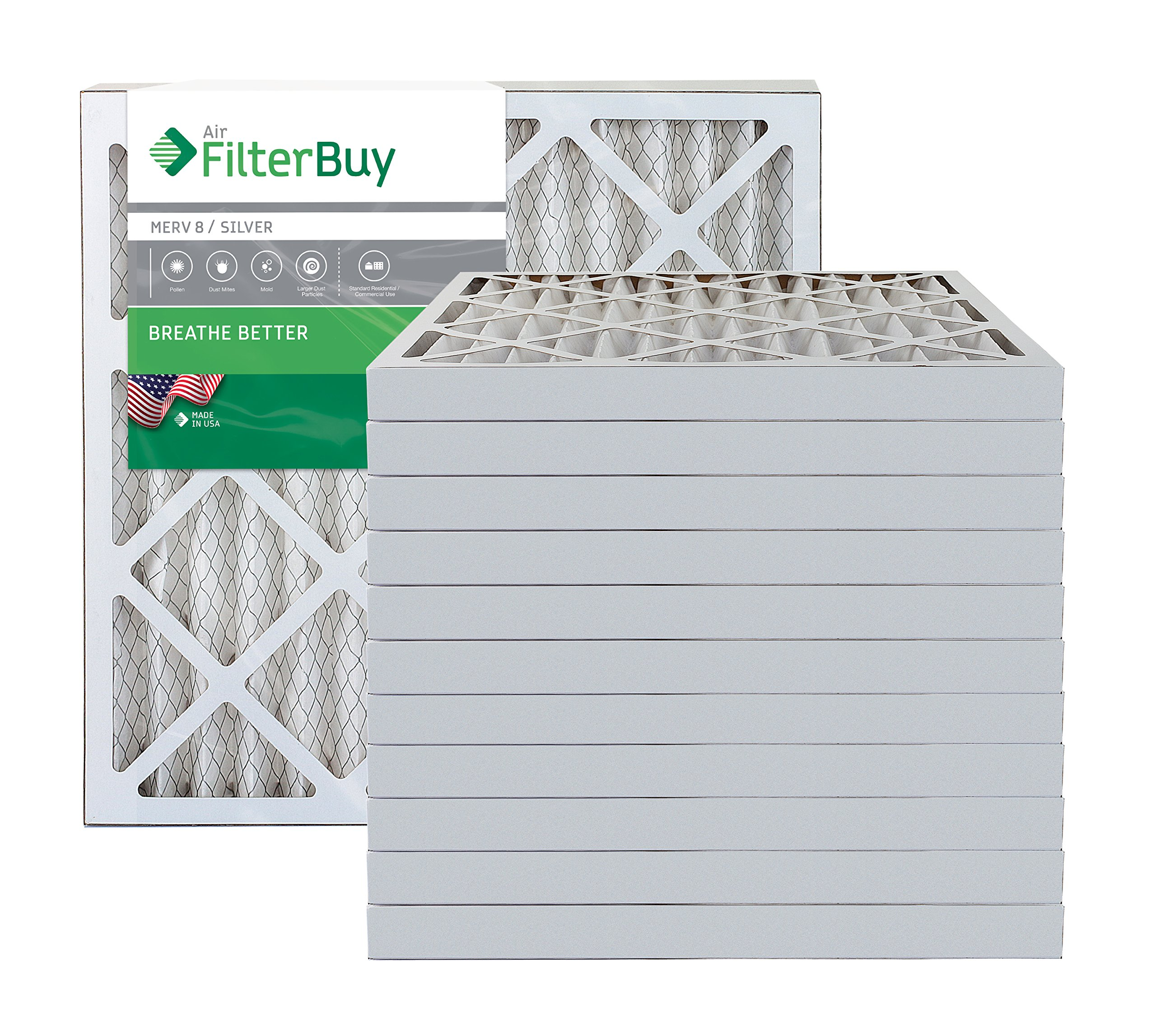 AFB Silver MERV 8 20x20x2 Pleated AC Furnace Air Filter. Pack of 12 Filters. 100% produced in the USA.
