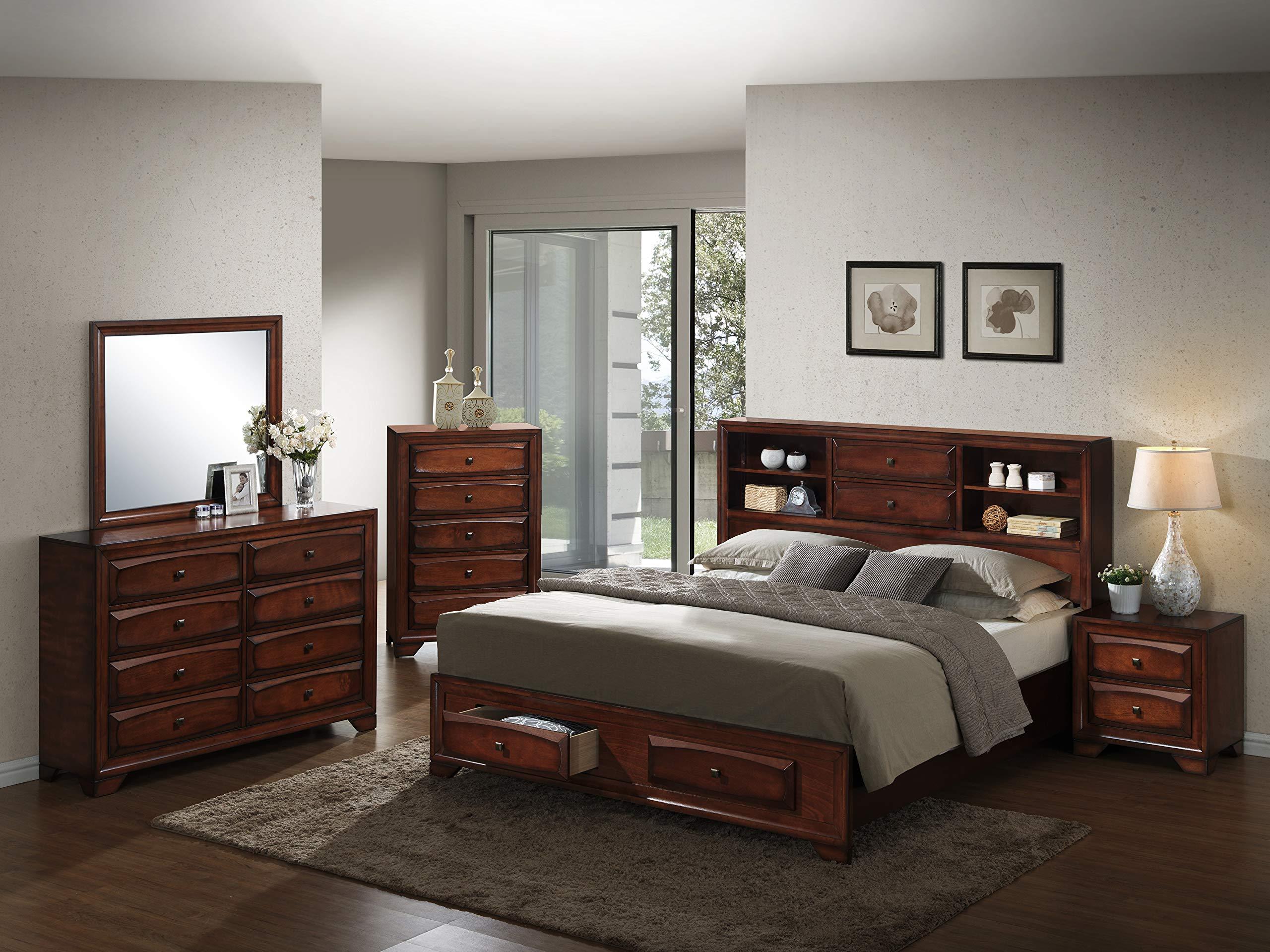 Roundhill Furniture Asger Wood Room Set, Queen Storage Bed, Dresser, Mirror, Night Stand, Chest by Roundhill Furniture