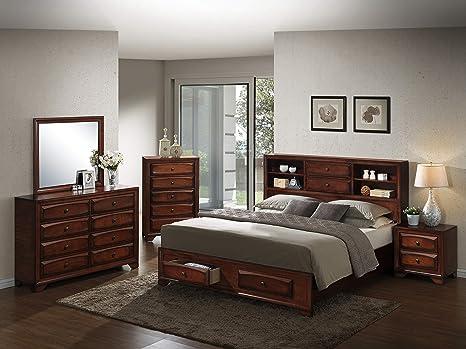 Roundhill Furniture B139BQDMNC Asger Wood Room Set, Queen Storage Bed,  Dresser, Mirror, Night Stand, Chest