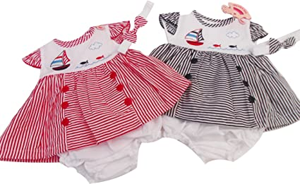 BNWT Baby Girls Summer Stripey Dress Outfit Knickers /& Hairband