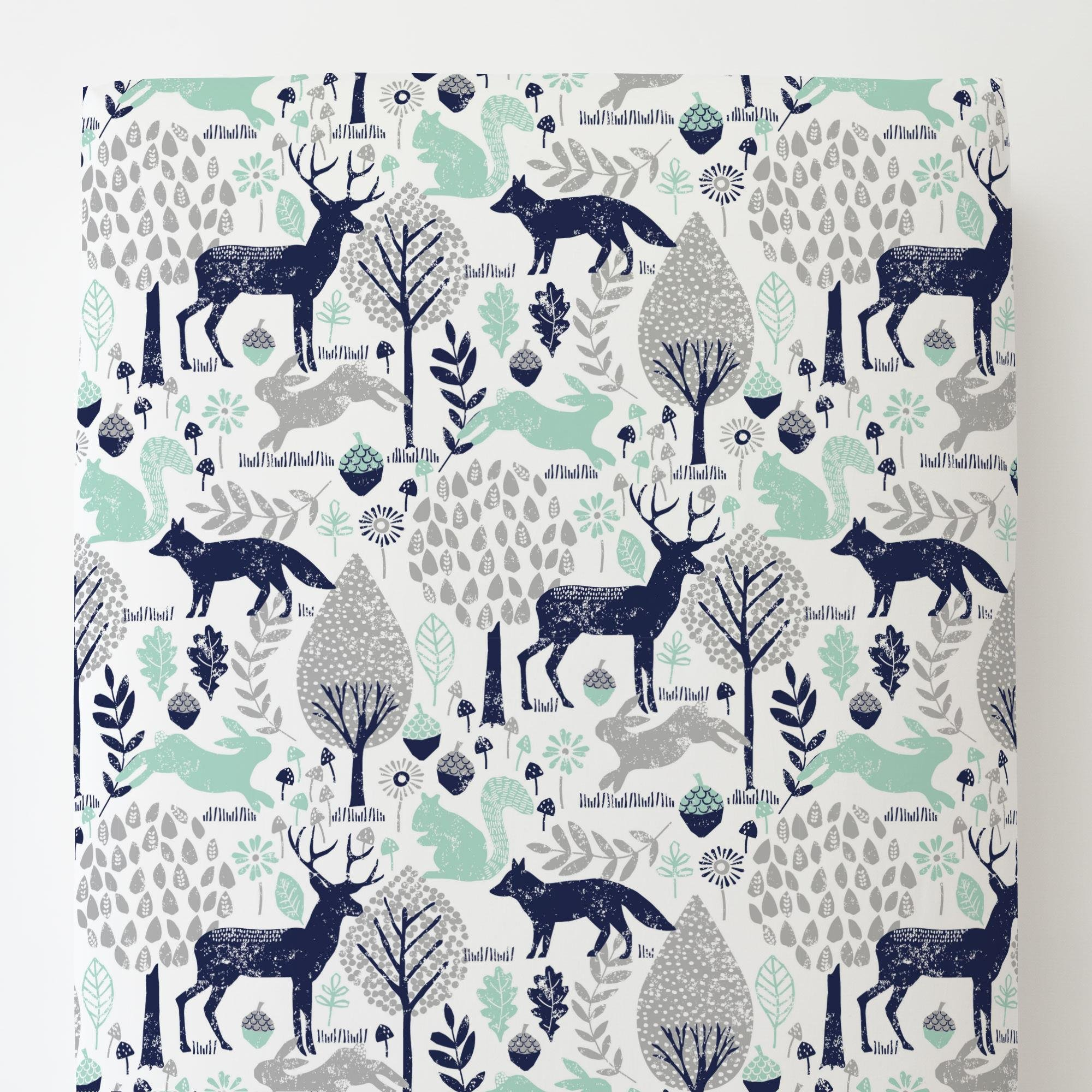 Carousel Designs Navy and Mint Woodland Animals Toddler Bed Sheet Fitted