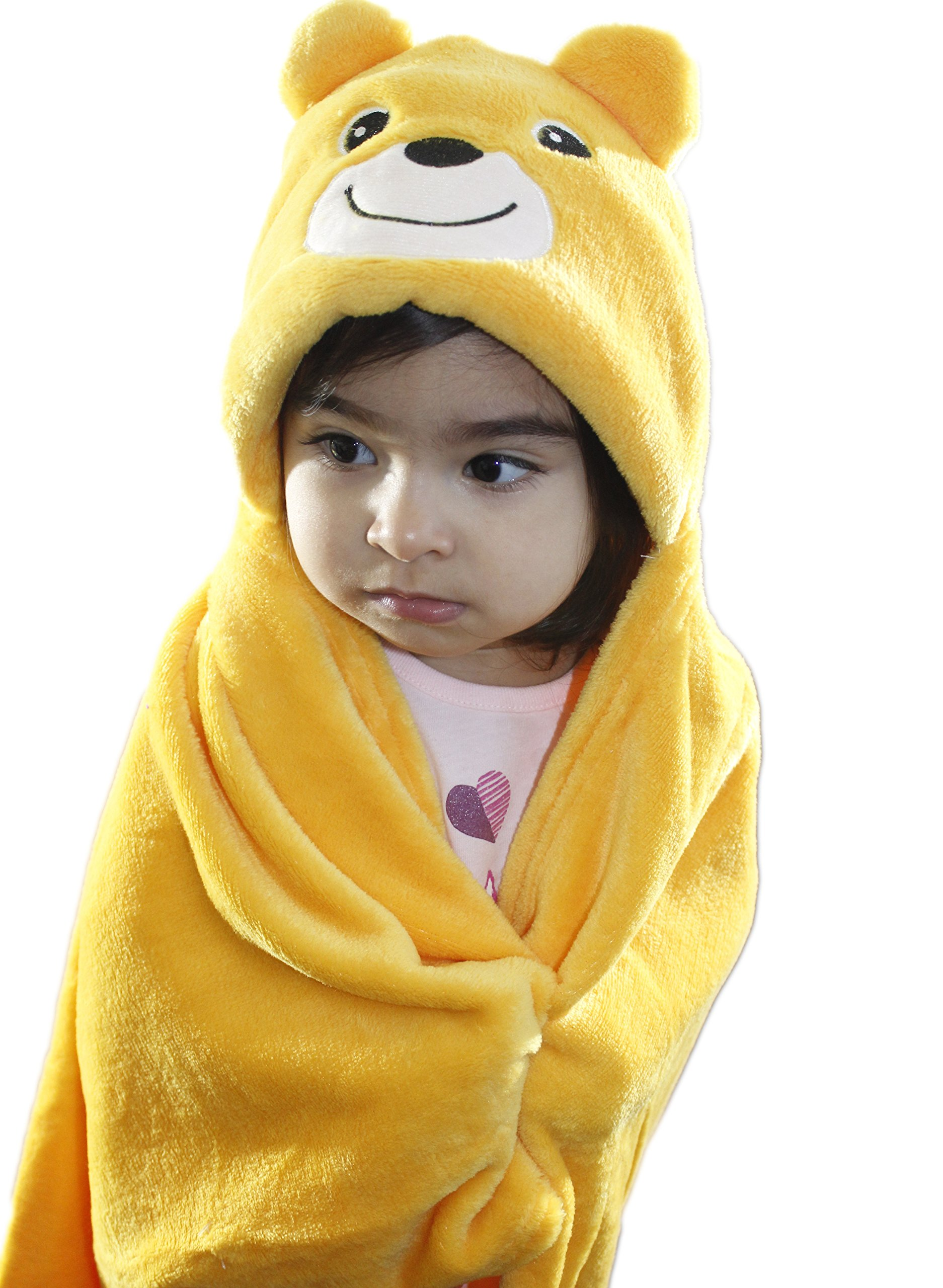 Zoopurr Pets Baby Boys' or Baby Girls' Hooded Animal Blanket; Super Soft, Huggable Plush Hoodie Blanket (Teddy Bear)
