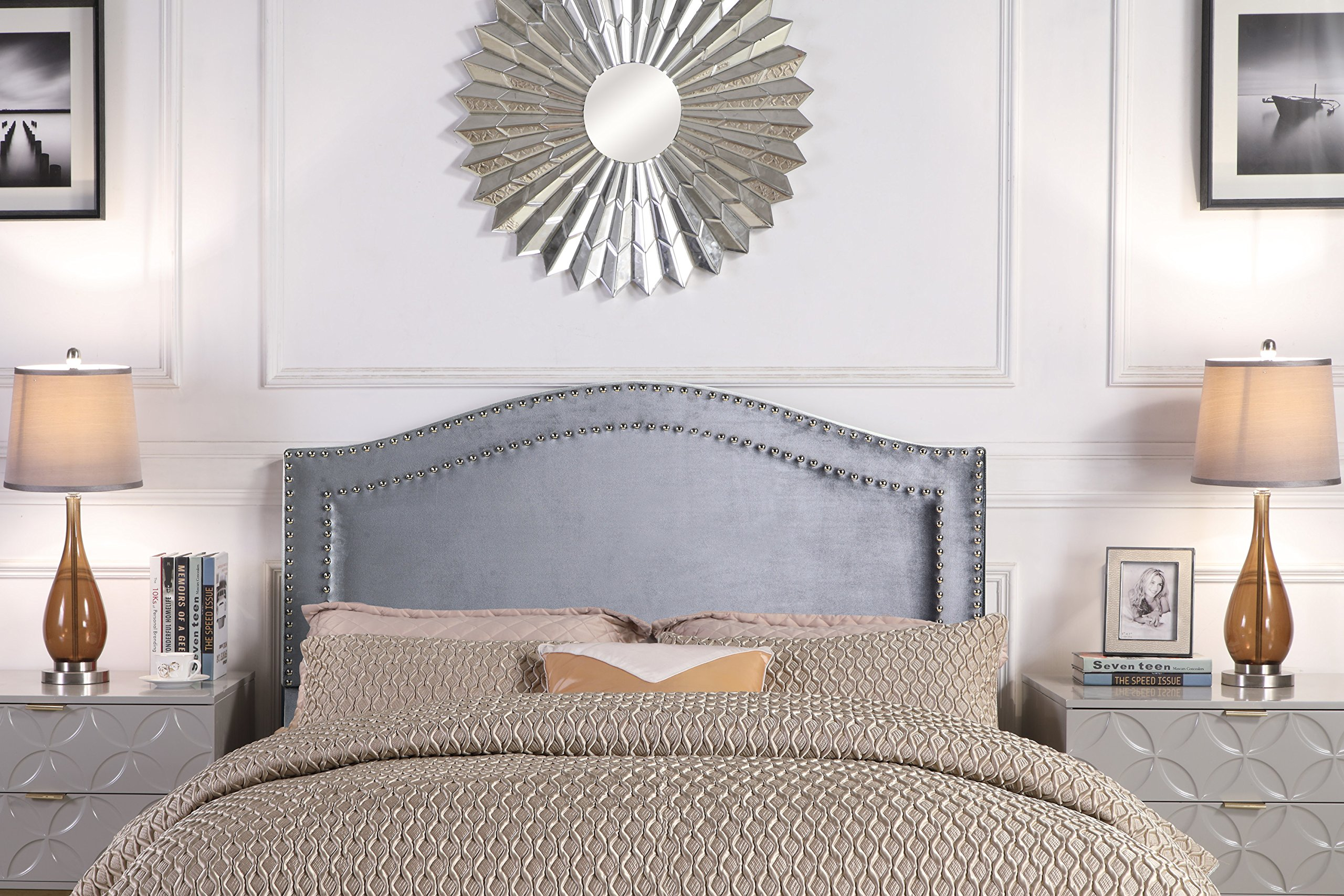 Iconic Home FHB9064-AN Tal. Headboard Velvet Upholstered Double Row Silver Nailhead Trim Modern Transitional, Twin, Gray by Iconic Home