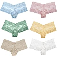 be6d5f11f63 Curve Muse Women s Pack of 6 Comfort Sheer Lace Tanga Hipster Boyshorts  Panties