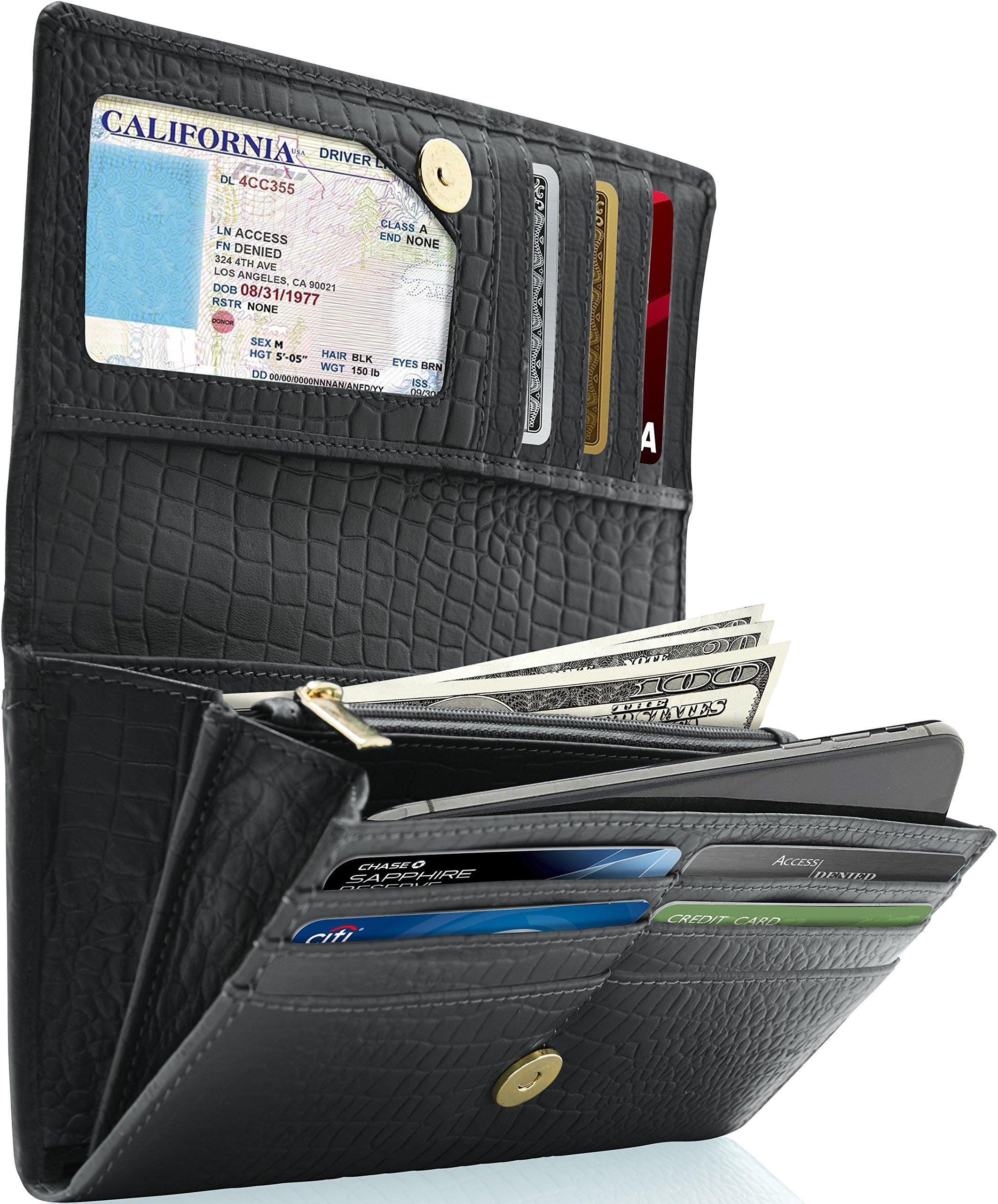 Leather Clutch Wallets For Women - Ladies Accordion Organizer RFID Blocking Wallet