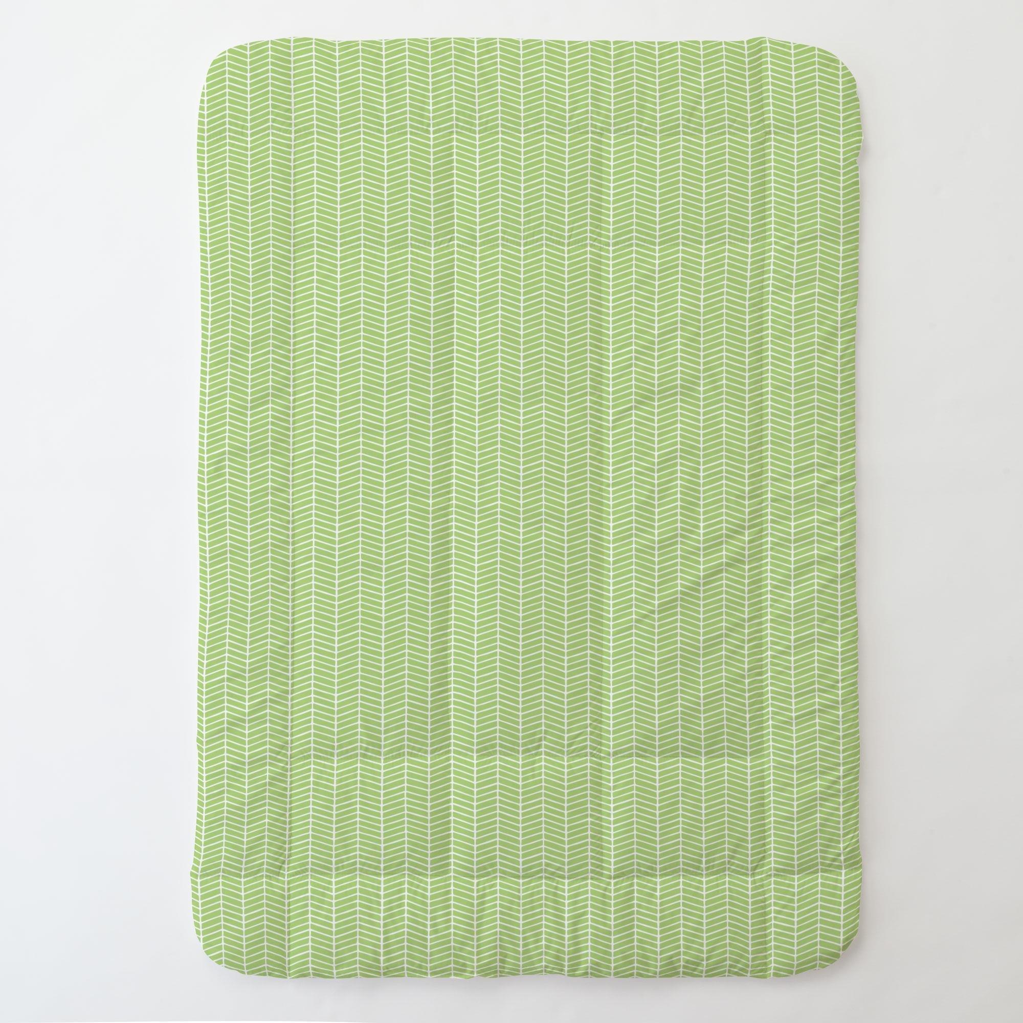 Carousel Designs Kiwi Herringbone Toddler Bed Comforter