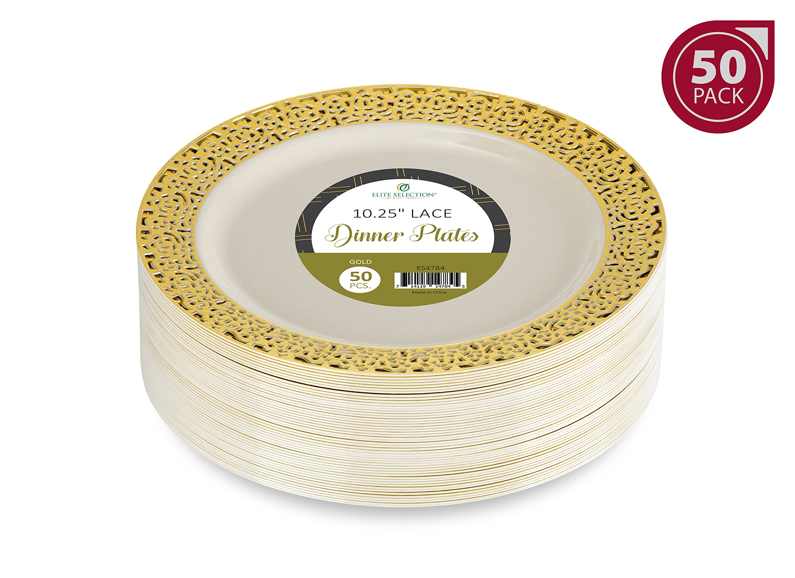 Elite Selection Pack Of 50 Dinner Disposable Plastic Plates Ivory Color With Gold Lace Rim 10.25 Inch
