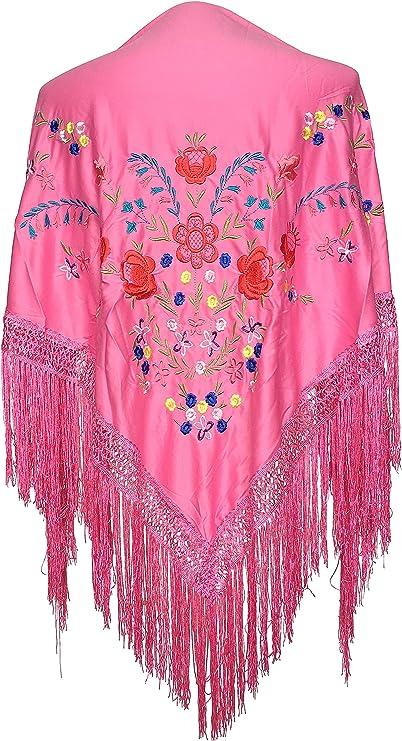 La Señorita Mantones bordados Flamenco Manton de Manila Rosa con flores