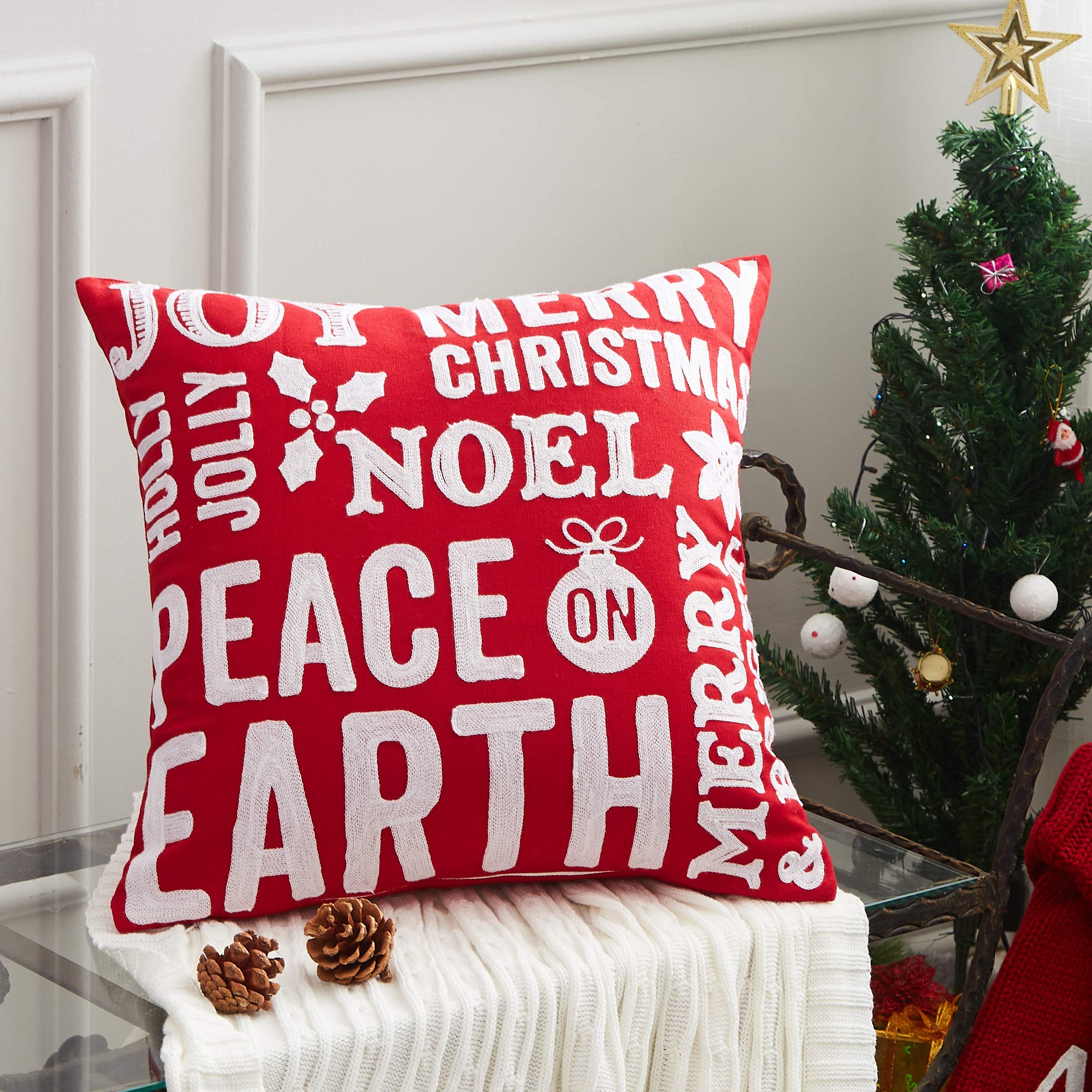 "Cassiel Home Christmas Sayings Decorative Pillow Cover,1 PCS Embroidery Christmas Pillow Cover,100% Cotton Throw Pillow Cover 18x18""/45x45cm"