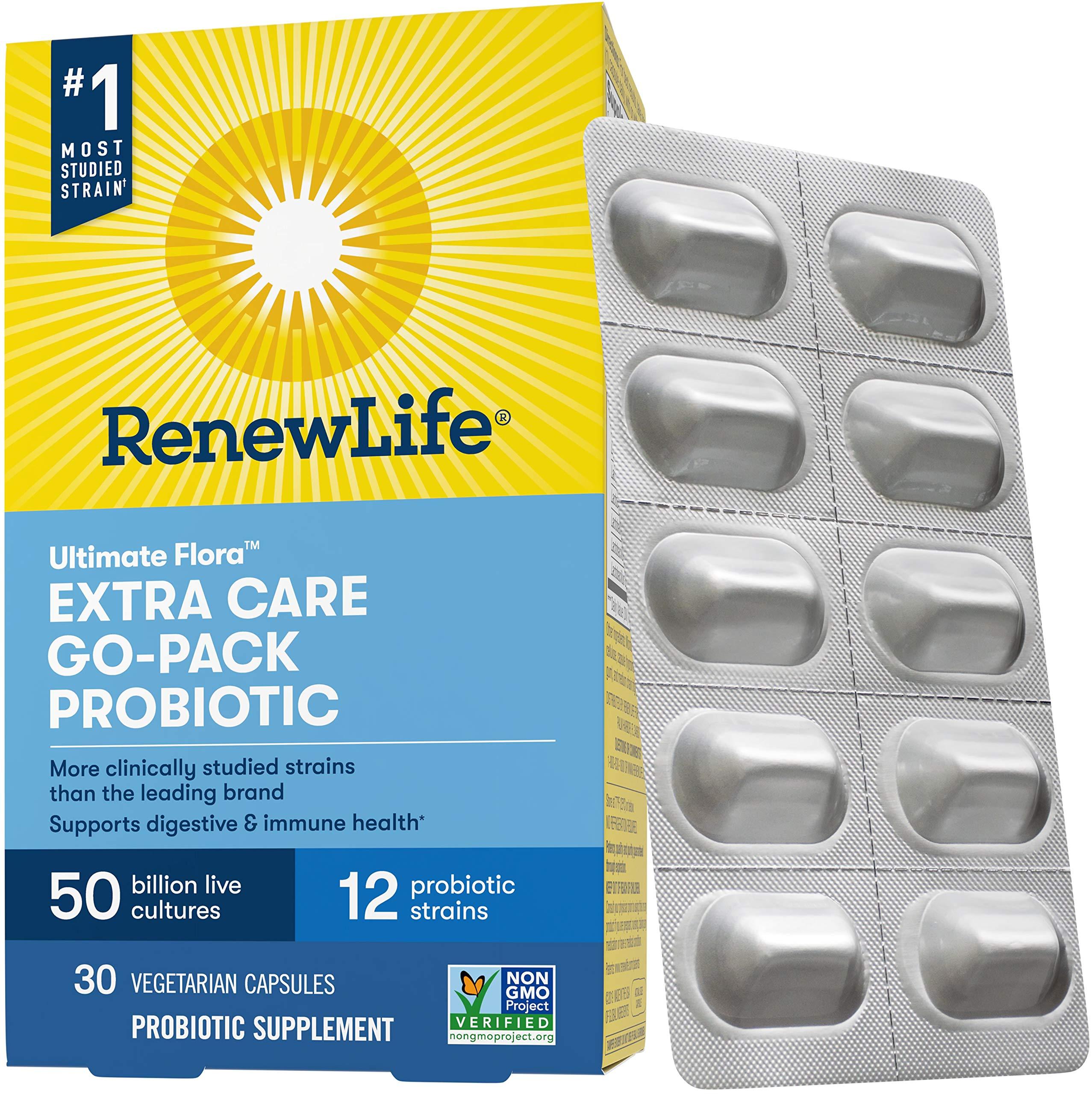 Renew Life Adult Probiotic - Ultimate Flora Extra Care Go-Pack Probiotic Supplement - Gluten, Dairy & Soy Free - 50 Billion CFU - 30 Vegetarian Capsules