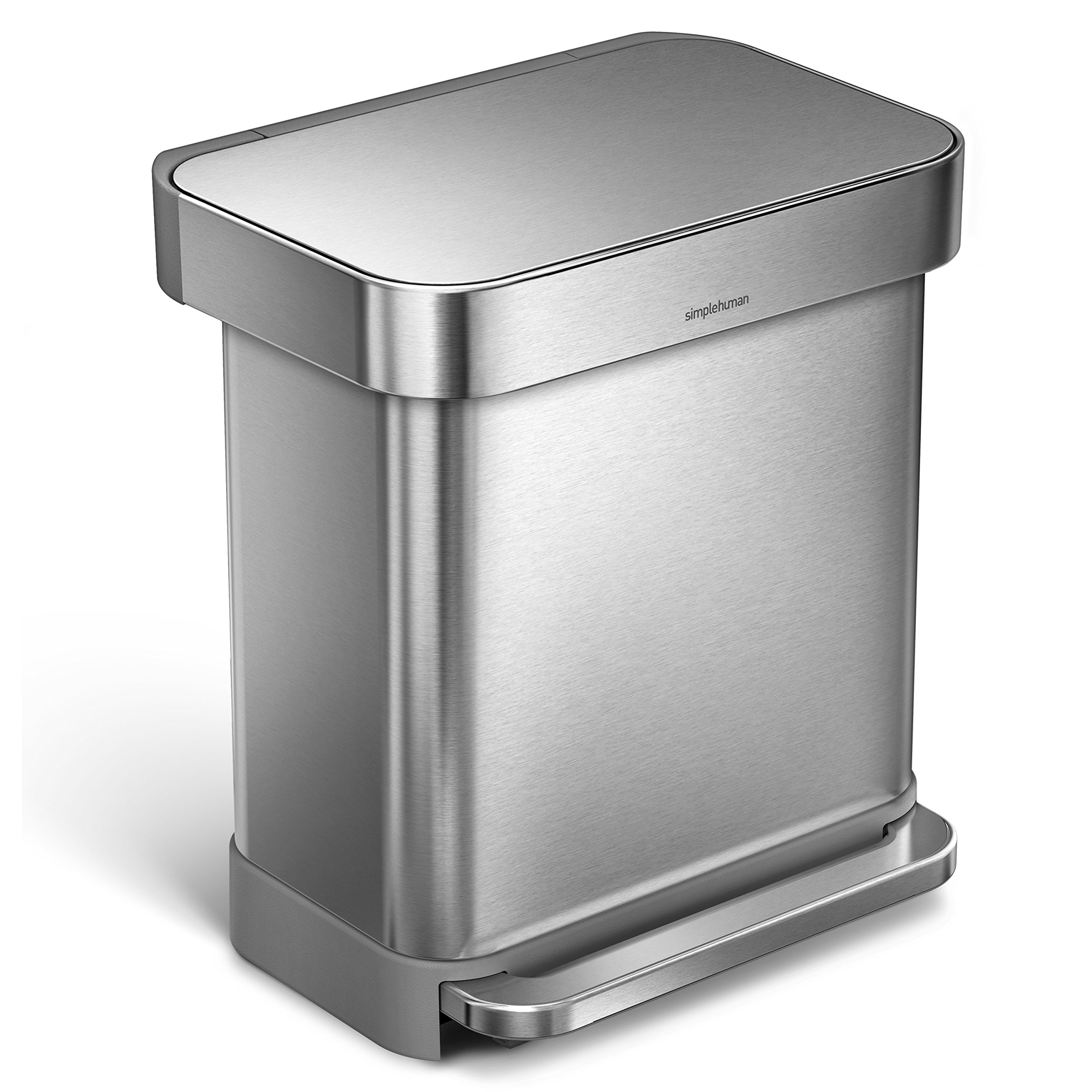 simplehuman 30 Liter/8 Gallon Stainless Steel Rectangular Kitchen Step Trash Can with Liner Pocket, Brushed Stainless Steel